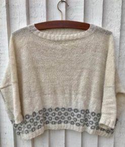 Strikkesæt: Sweater med cirkler - håndspundet 100% Baby/Royal-alpakauld